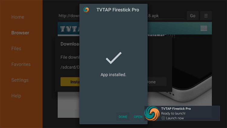 open tvtap pro app on firestick and firetv